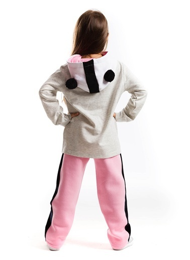 Denokids Panda Kulak Eşofman Takım Gri
